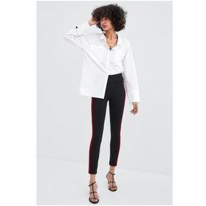 NWT Zara Size S Mid Rise Side Stripe Leggings